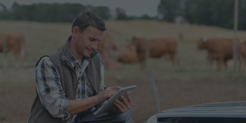 Homem utilizando tablet no campo